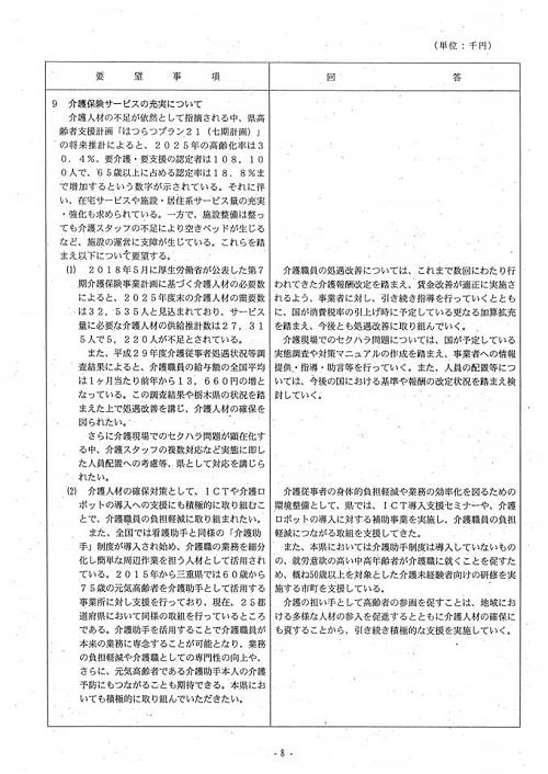 栃木県議会<民主市民クラブ>2018年度中間期 政策推進・予算化要望 知事回答(10日)と<議会運営委員会>!⑩