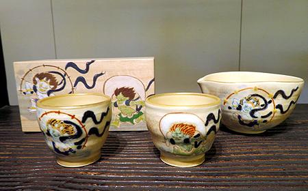 910陶泉窯風神雷神茶セット
