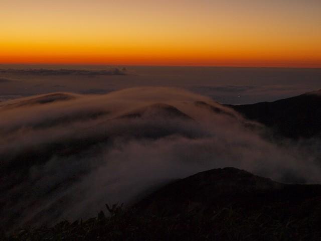 s滝雲と夕焼け
