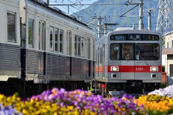 2018年5月11日 上田電鉄別所線 下之郷 7200系7255編成/1000系1001編成