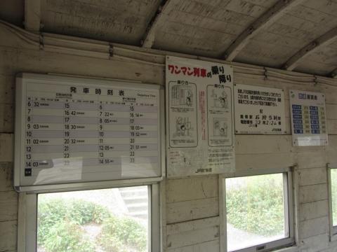 中小屋駅時刻表と運賃表