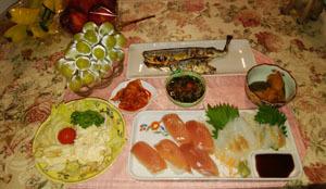 晩御飯 さんま・マグロ寿司・オコゼ刺身