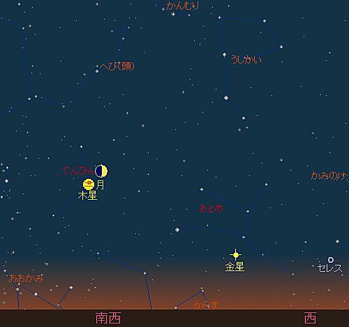 20180817 伝統的七夕と月と木星の接近星図1