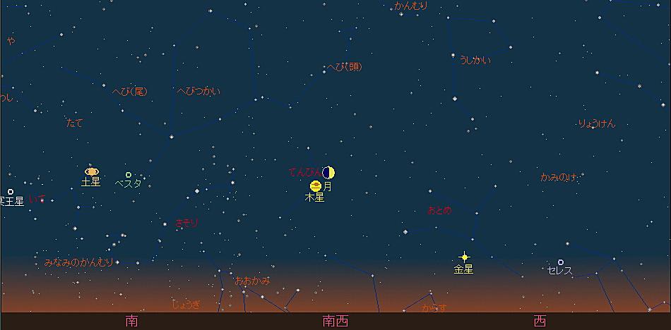 20180817 伝統的七夕と月と木星の接近星図2