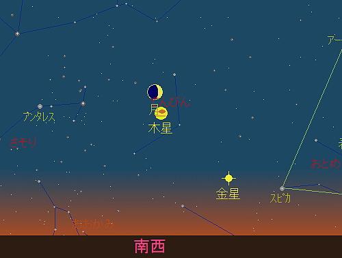 20180914 月と木星の接近星図1
