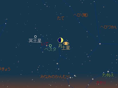 20181015 月と土星の接近星図1