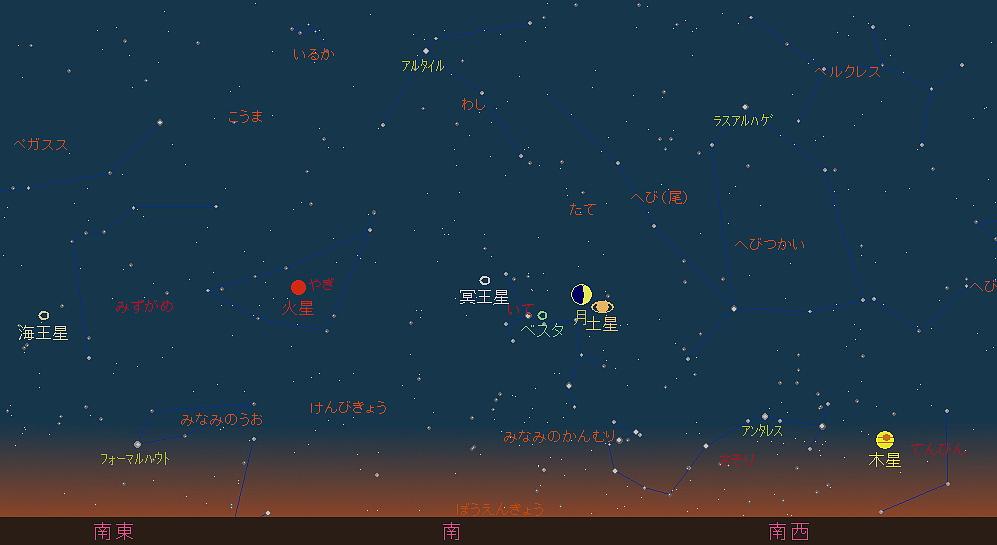 20181015 月と土星の接近星図2