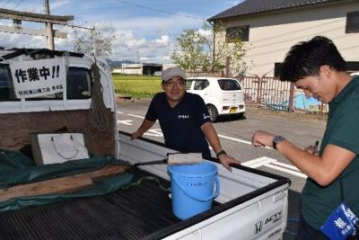 作州津山商工会久米支部青年部カーブミラー清掃ボランティア誠道小学校区