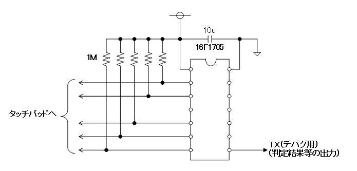 PICでタッチSW(第2弾)回路図
