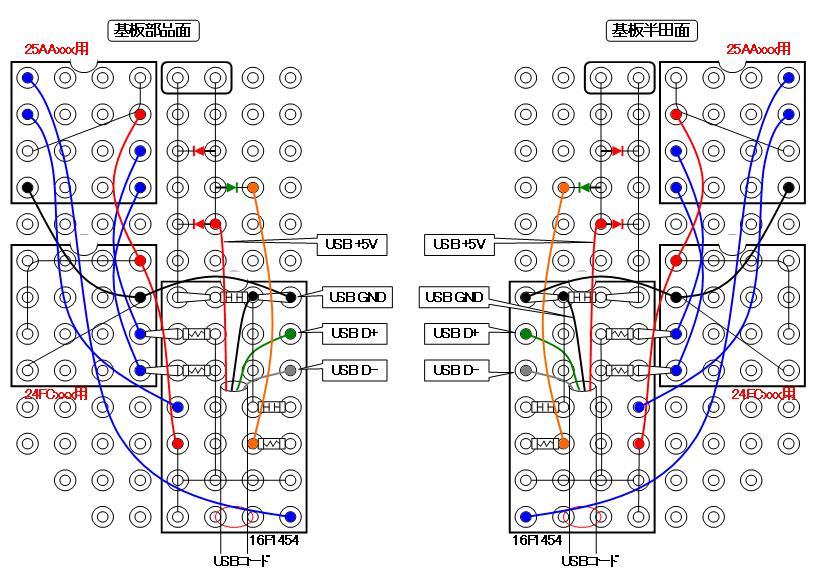 シリアルフラッシュROMライターの製作配線図