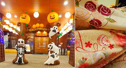 入り口はハロウィンで飾り付け