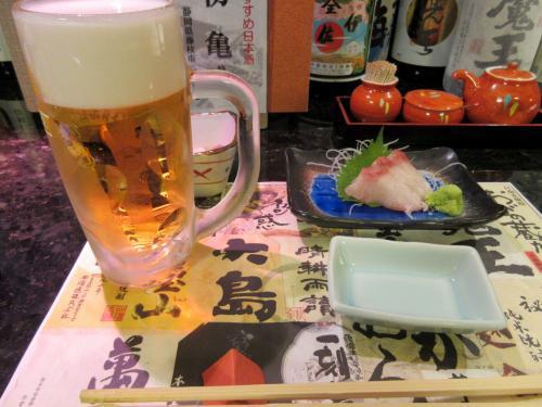 はまちの刺し身と生ビール