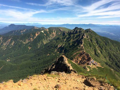 横岳、蓼科山と浅間山