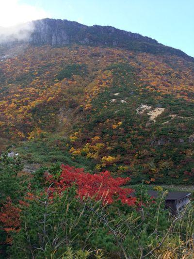 山小屋と裏山の紅葉