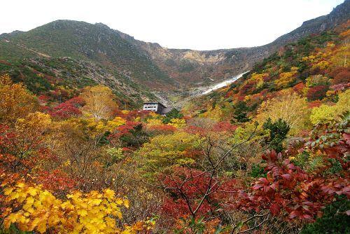 紅葉に埋まる小屋