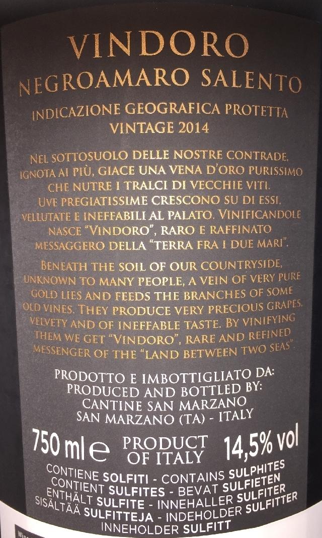 Vindoro Salento Negroamaro Cantine San Marzano 2014 part2