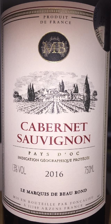 Cabernet Sauvignon Le Marquis de Beau Rond 2016