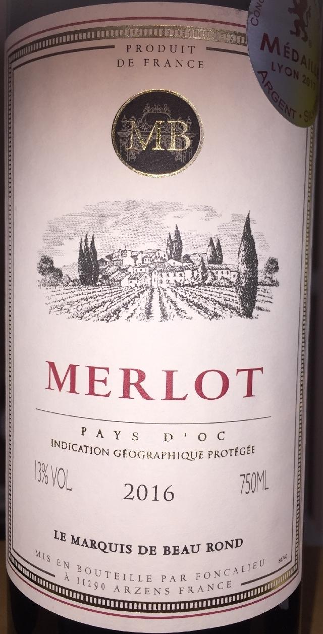 Merlot Le Marquis de Beau Rond 2016