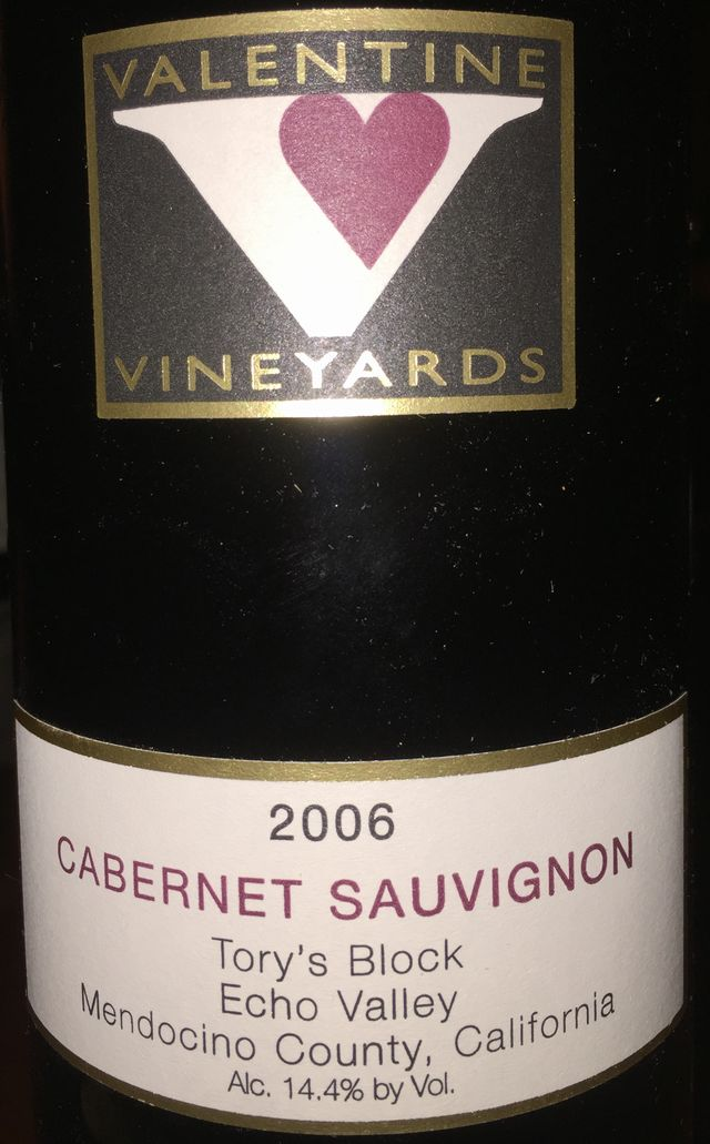 Cabernet Sauvignon Torys Block Echo Valley Mendocino County California Valentine Vineyards 2006 part1