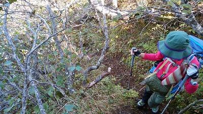 斜里岳玉石壁登り1