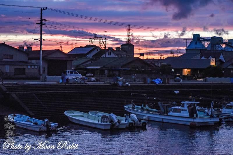 西条漁港の夕暮れ 愛媛県西条市北浜北