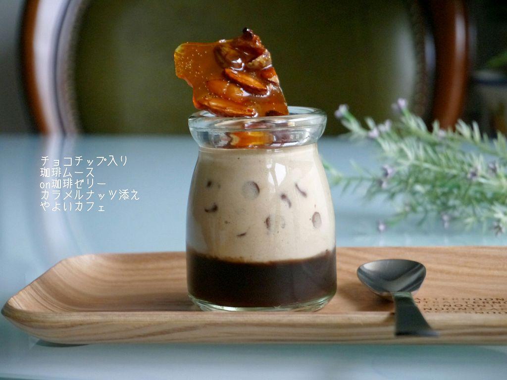 「チョコチップ入り珈琲ムースonゼリー☆カラメルナッツ添え」の作り方