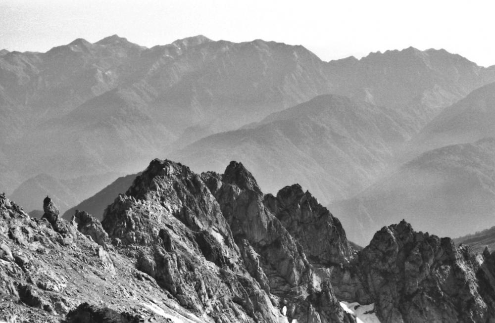 剣岳頂上から