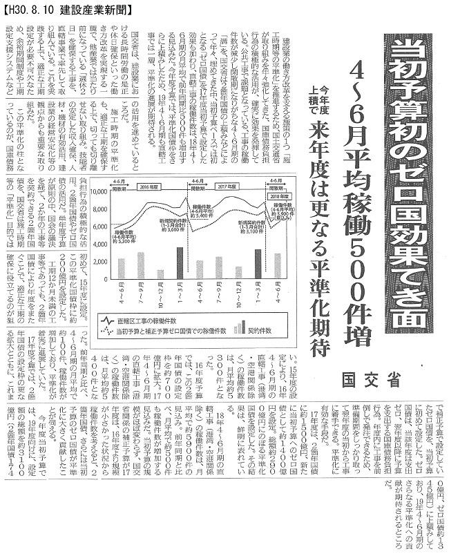 180810 国債積極活用~施工時期の平準化に有効:建設産業新聞
